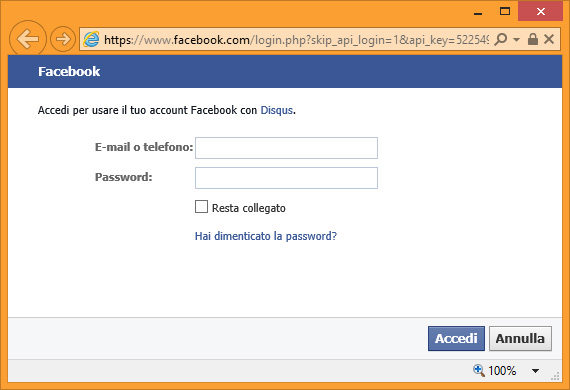 Disqus - Login Facebook